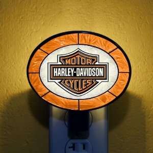 Orange Harley Davidson Stained Glass Night Lights