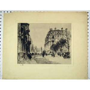 Print Street Scene Enraving Buildings Transport Home & Kitchen