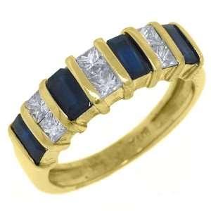 14k Yellow Gold Emerald Cut & Blue Sapphire & Diamond Band