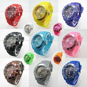 Unisex Jelly Candy Dial Quartz Wrist KID Watch bangle 13 colors