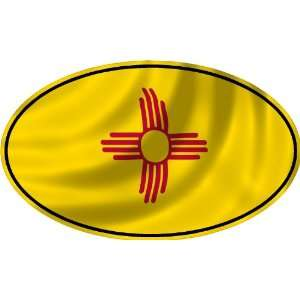 NEW MEXICO FLAG OVAL Bumper Sticker Decal   laminated to last