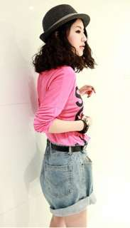 Cool Women girl High Waisted Oversize Crimping Boyfriend Jeans Shorts