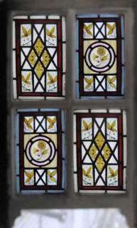 STAINED GLASS WINDOW ANTIQUE VICTORIAN PAINTED GEM ORIGINAL FRAME