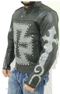 Size 46 Chopper Style Motorcycle Leather Biker Jacket With Armor New