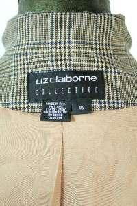 NWT womens plaid LIZ CLAIBORNE jacket blazer wool designer sz XL 16