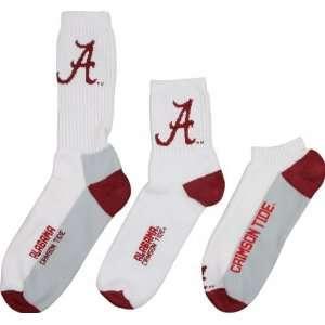 Alabama Crimson Tide Mens 3 Pair Sock Pack  Sports