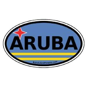 Aruba Flag Car Bumper Sticker Decal Oval