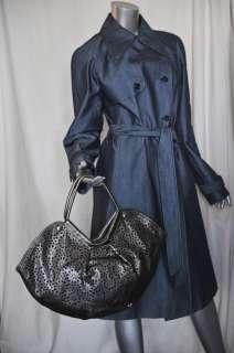 JIMMY CHOO Metallic Grey Snowflake Laser Cut Out Shoulder Bag Handbag