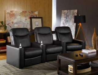 Oracle Home Theater Seating 3 Black Leather Chairs