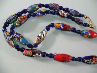 ANTIQUE VICTORIAN or DECO VENETIAN MILLEFIORI GLASS OBLONG BEADS LONG