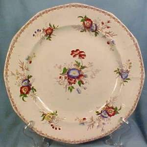 Beautiful Antique FLORAL MULBERRY TRANSFERWARE DINNER PLATE Morning