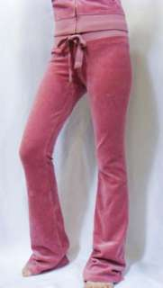 NWT Juicy Couture Crystal J Charm English Rose Velour Hoodie Pant
