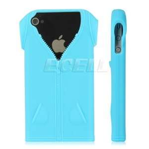 Ecell   SKY BLUE T SHIRT SILICONE GEL SKIN CASE FOR iPHONE