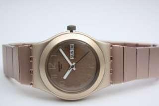 New Swatch Irony Silky Lustre Aluminum Rose Gold Tone Women Date Watch