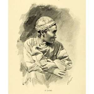 1898 Wood Engraving Lochai Burma Tribe Ethnic Costume G