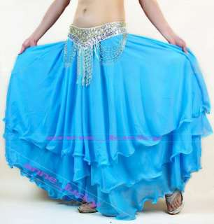 New Belly Dance Costume three layers skirt 12 colours