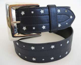 FABULOUS ESCADA NAVY BLUE white STARS LEATHER silver buckle BELT 36 6