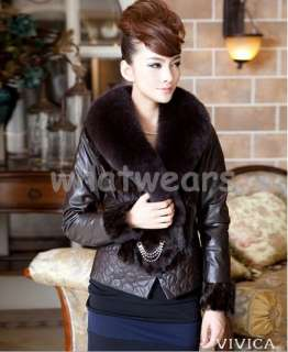 Real Fox Fur Collar Sheep Leather Coat/Jacket 4 size Brown P73