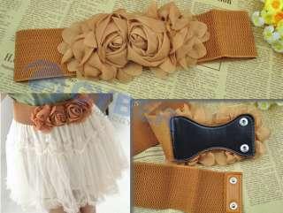 Fashion Double Rose Flower Style Elastic Belt Waistband