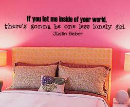 Justin Bieber Vinyl Wall Art Sticker Decal Quote Decor Inspirational