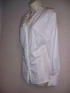 JONES NEW YORK Woman White 100% Cotton Long Sleeve Blouse Top 3X NWT
