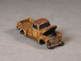 HO Scale Yellow Rusted Out 1951 Chevy Pickup w/ Hood up