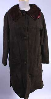 WOMENS VTG SOFT LEATHER/REAL MINK FUR TRIM COAT sz M