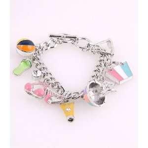 Fashion Jewelry Charm Bracelet with Pattern Silver