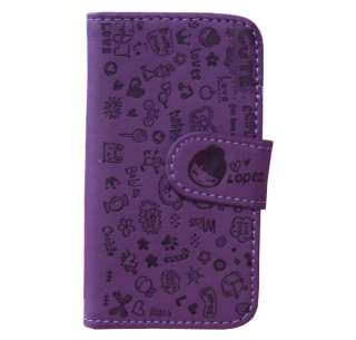 Purple Girl Heart Happy Leather Pouch Flip Case Cover Skin For iPhone