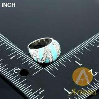 ARINNA turquoise blue enamel trendy finger Ring white gold GP