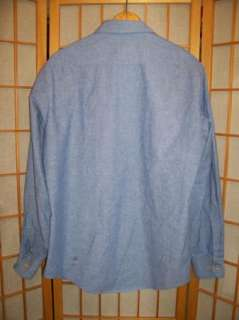 Vintage 1960s  100% Cotton BLUE CHAMBRAY LONG SLEEVE WORK SHIRT