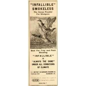 1910 Vintage Ad Du Pont Shotgun Powder Ducks Hunting