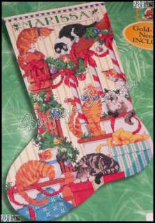 Bucilla CATS ON THE STAIRS Counted Cross Stitch Christmas Stocking Kit