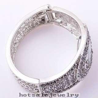 wholesale 1pcs black crystal rhinestone watch cuff bracelet bangle