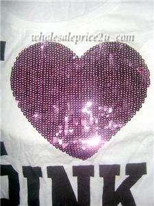 VICTORIAS SECRET I ♥ PINK® BLING SEQUIN PIMA COTTON TEE