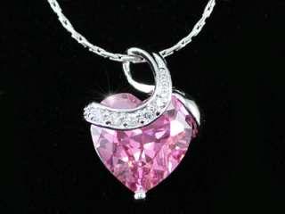 Carat Pink Heart Sapphire Necklace Earrings Set SN245