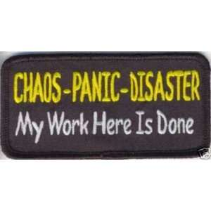 PANIC DISASTER Fun Embroidered Biker Vest Patch!!: Everything Else