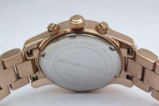 runway chronograph steel rose gold women date watch mk5430 small size