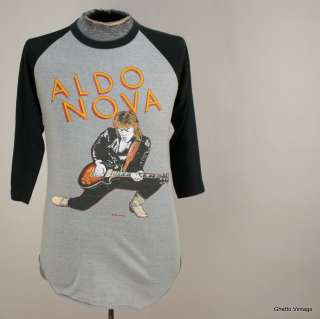 Vtg 80s ALDO NOVA 1982 Tour Concert Thin Raglan t shirt MEDIUM SMALL