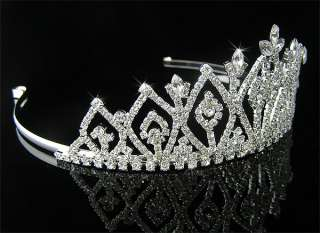 Wedding/Bridal crystal veil tiara crown headband CR136