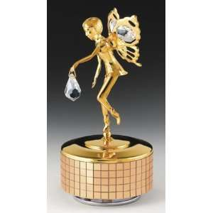 FAIRY 24k Gold Plated Swarovski Crystal Music Box