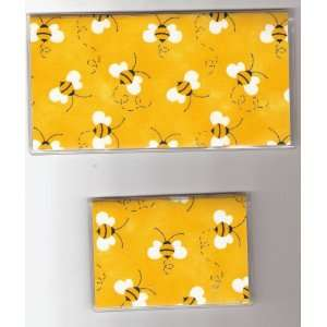 Checkbook Cover Debit Set Bumble Bee Bees on Yellow/