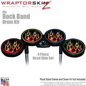 Metal Flames Skin by WraptorSkinz fits Rock Band Drum Set for Nintendo