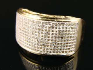 10K MENS YELLOW GOLD PINKY WEDDING BAND DIAMOND RING 1.20 CT