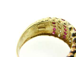Natural Ruby & Genuine Diamond Solid 14K Gold Ring Band