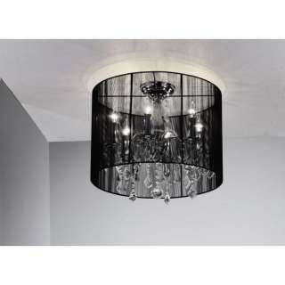 MODERN BLACK DRUM CRYSTAL CEILING CHANDELIER PENDANT LIGHTNING FLUSH