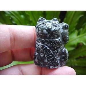 Gemqz Snowflake Obsidian Carved Lucky CAT Left PAW
