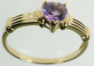 LADIES 10K YELLOW GOLD AMETHYST HEART ESTATE RING