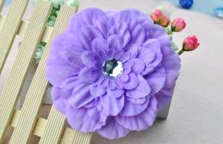 GIRL Lady Crystal Peony Head Flower Hair Clip Bow Cute Lovely Fashion