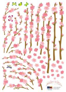 Sakura Orchard Flowers Adhesive Removable Wall Decor Accents Sticker